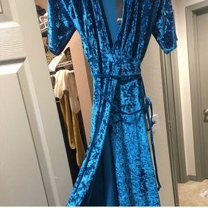 Teal velvet wrap maxi dress